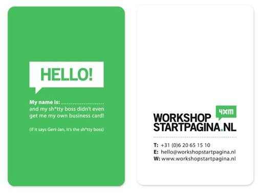 Workshop Startpagina